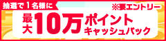 キャンペーン期間中に合計1万円(税抜)以上購入すると抽選で1名様に最大10万ポイントキャッシュバックキャンペーン※要エントリー